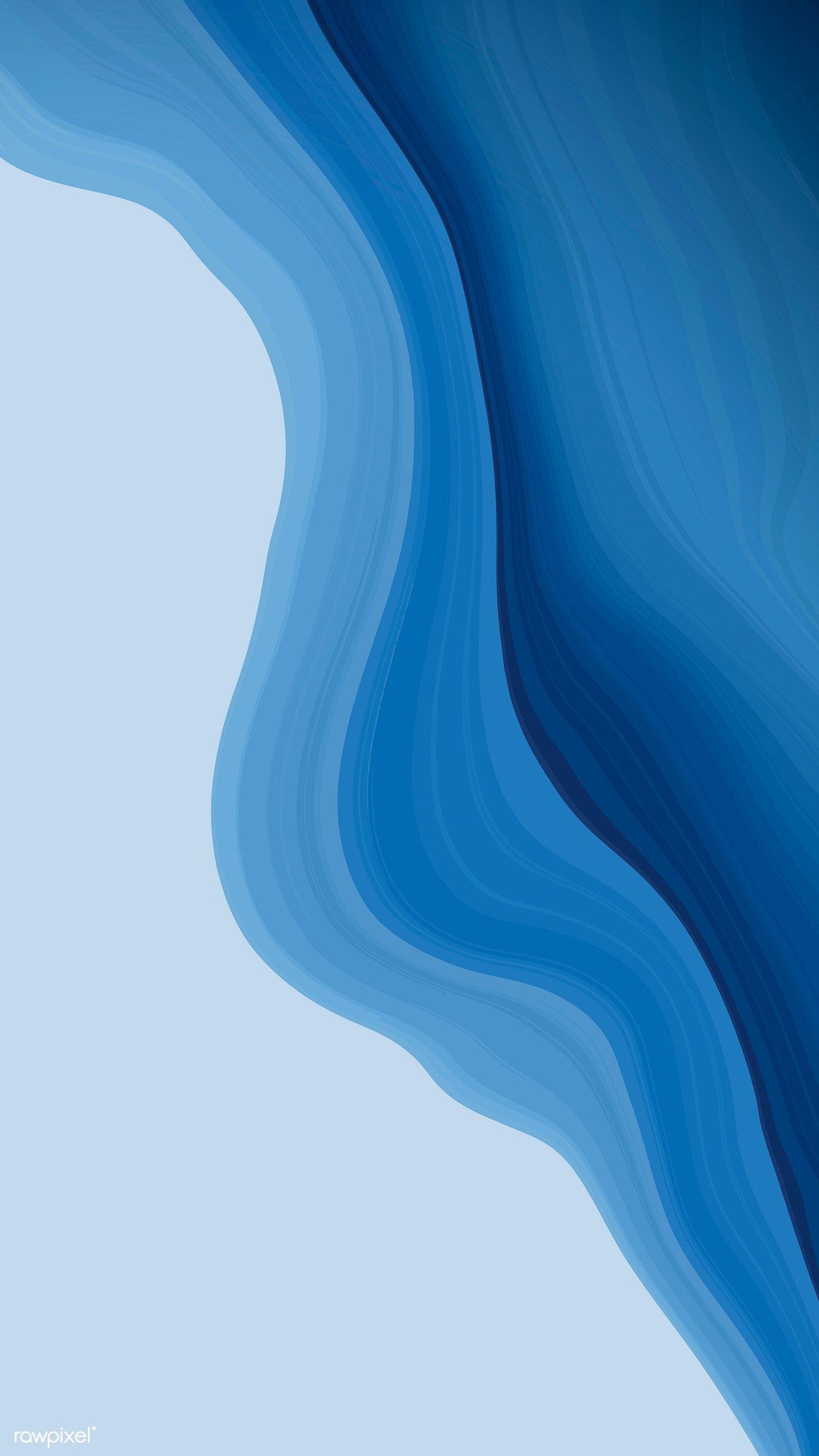 Download premium vector of Blue fluid fluid patterned mobile phone