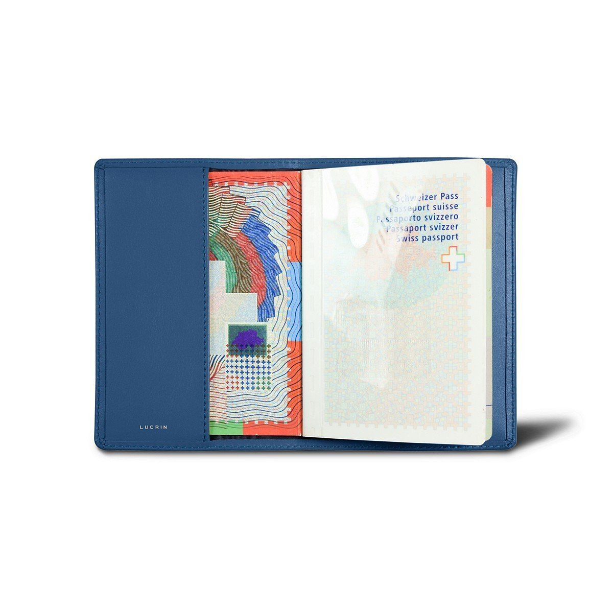 Lucrin genuine leather usa passport cover royal blue