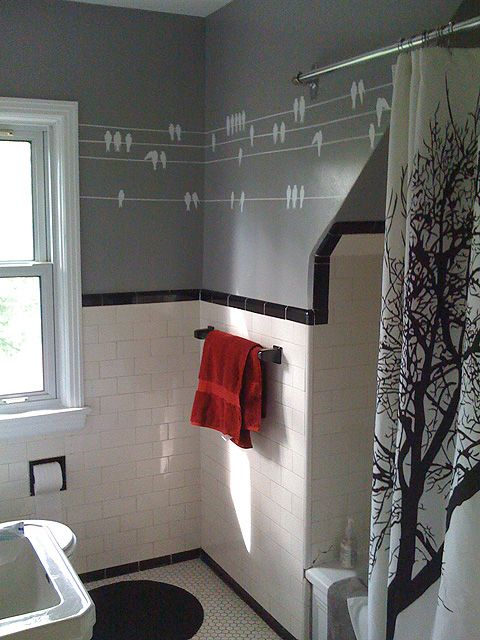 Gray Walls Birds On Wires Decals And Tree Branches Shower Curtain With Images Small Space Bathroom White Bathroom Tiles Bathroom Redo