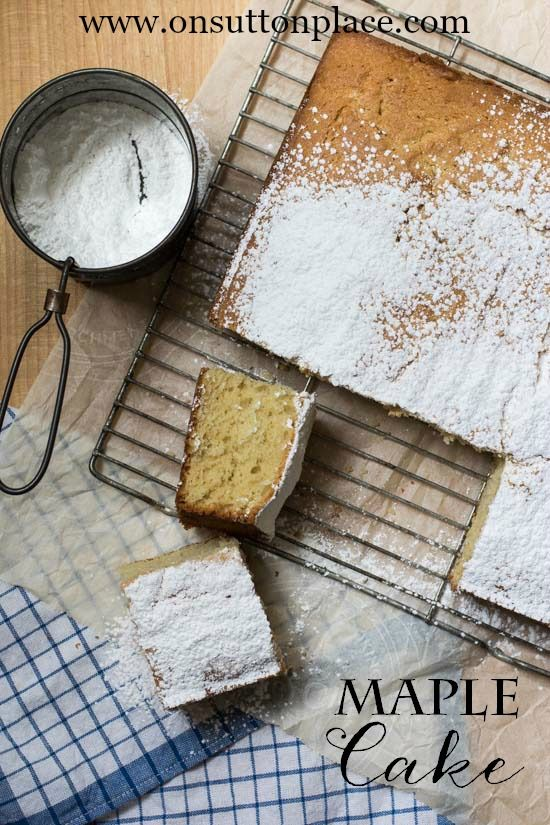 Maple Cake from Scratch | A sprinkling of powdered sugar makes this cake an easy and quick dessert option for any occasion! #bHomeApp