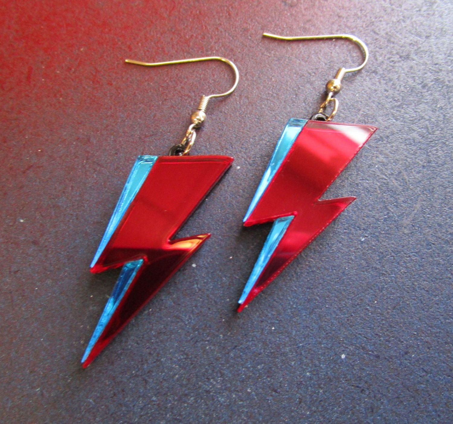Ziggy Stardust Red and Blue Mirrored Acrylic David Bowie Lightning Dangle Earrings by FoxyFunk on Etsy