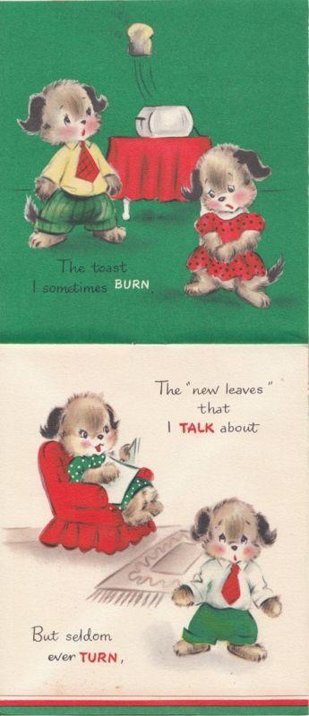 Vintage Greeting Card Booklet Christmas Dog Hallmark 1950s Many Illustrations ++