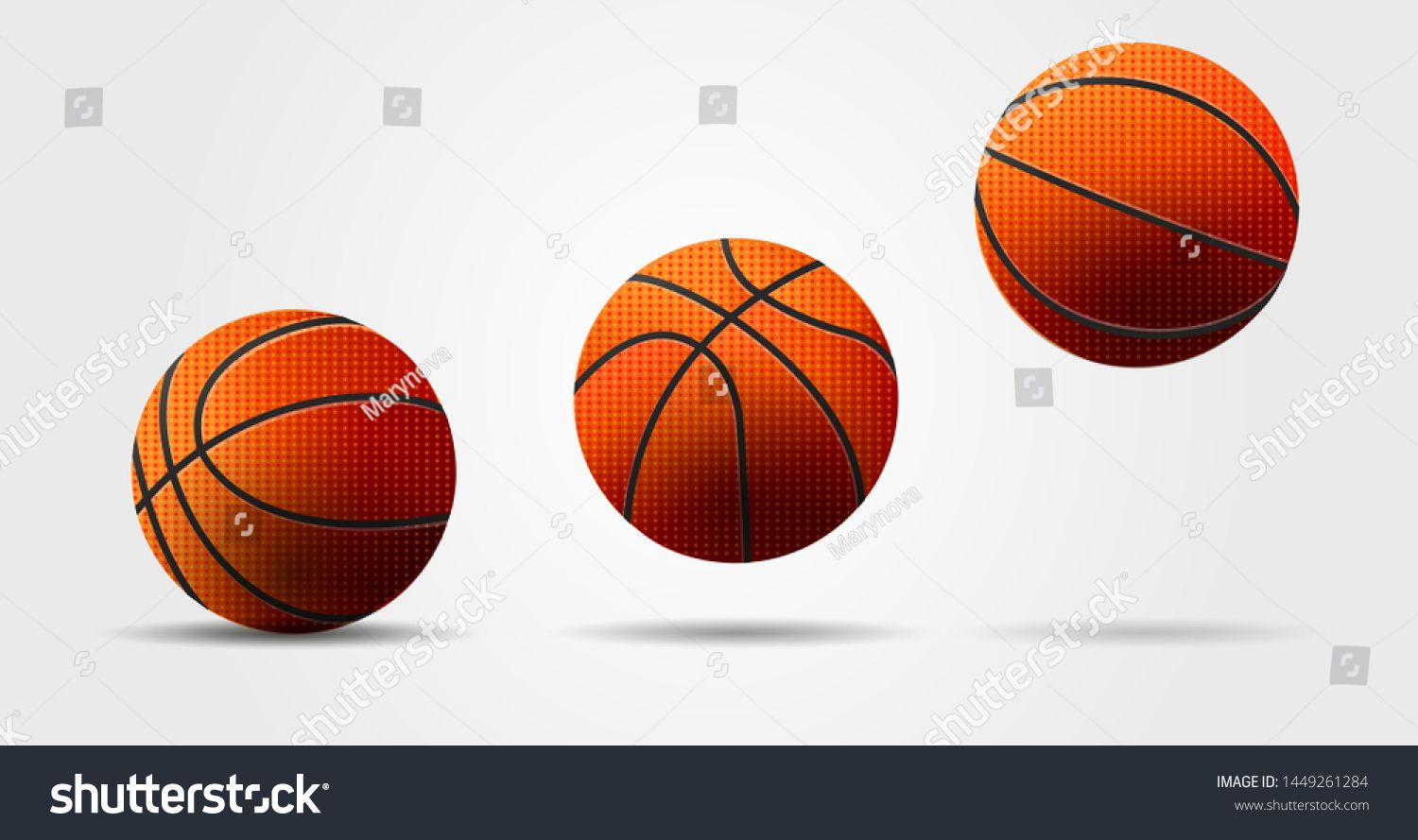 Basketball balls vector illustration, realistic cartoon graphic, balls jumping, view from different sides #Ad , #AD, #illustration#realistic#vector#Basketball