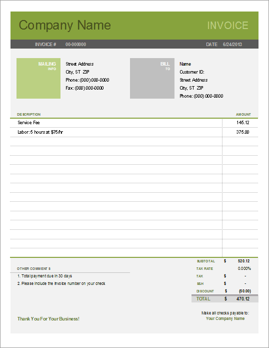 download a free simple invoice template for excel  easy to use and to customize  uses the new