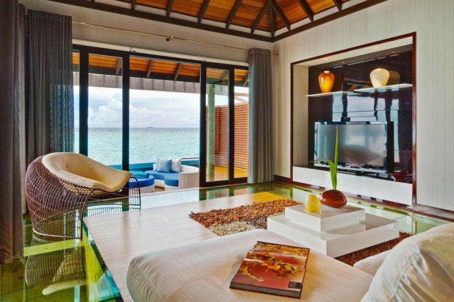 Great Interior Design to Enjoy the Earth Paradise in Velassaru: The Living Room Of Velassaru Resort