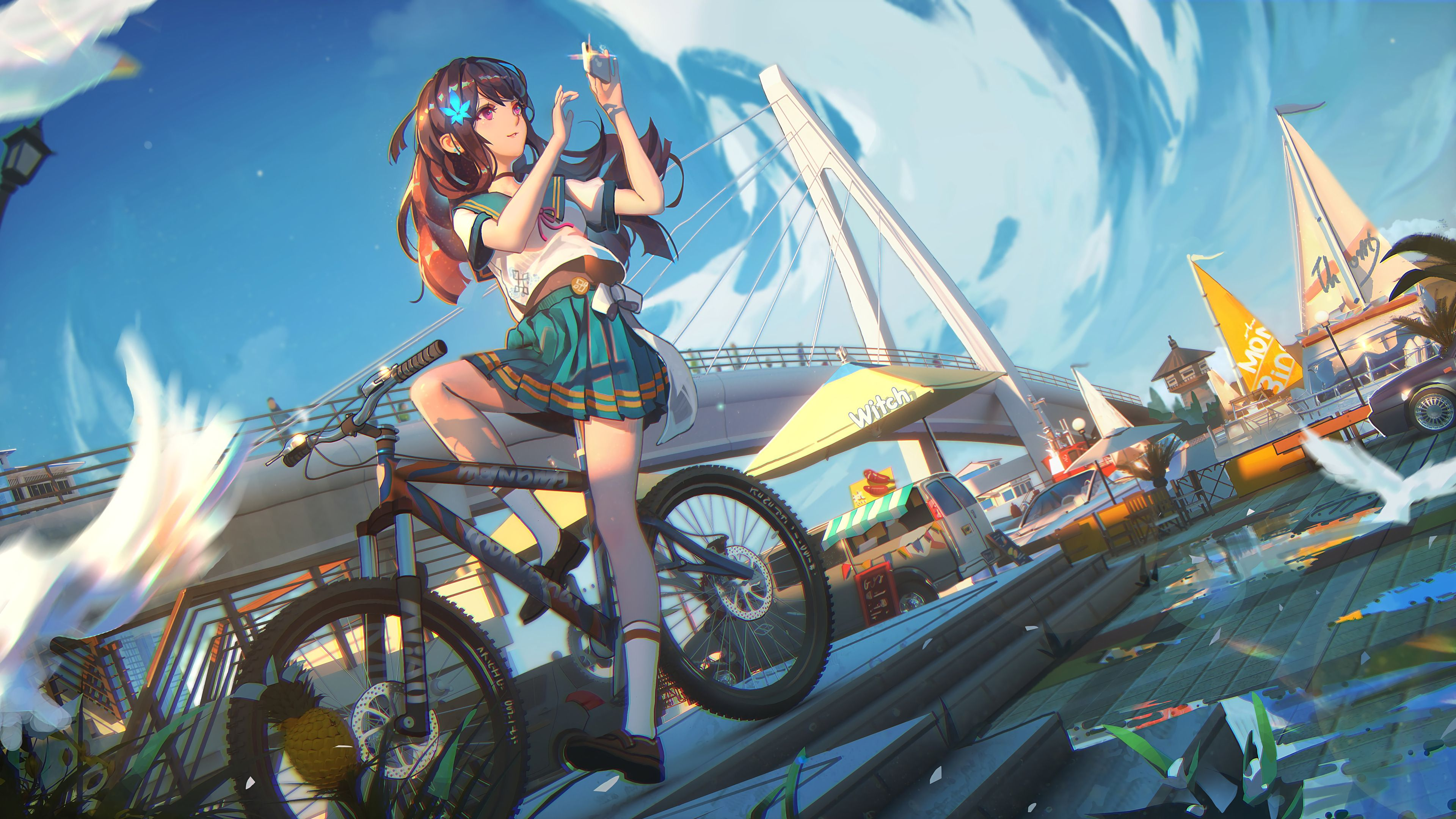 Wallpaper 4k Para Pc Anime Anime Student Girl On A Bicycle Wallpaper 4k Ultra Hd Id 3722 Wallpapers In 2020 Cool Anime Wallpapers Hd Anime Wallpapers Anime Wallpaper
