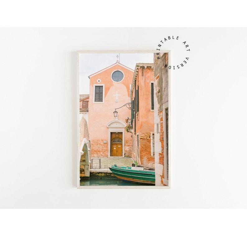 Photo of blush pink wall art, venice italy photography, venice canal gondola wall art print, europe wall art, italy wall art, printable wall art