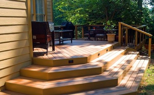Wrap Around Deck Stairs With Lighting In Risers.