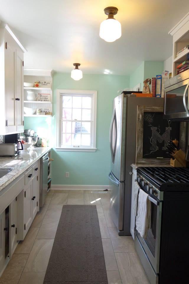 galley, kitchen, 1940s, quartz, renovation, Sherwin Williams Breaktime, Cambria Bellingham, Hampton Bay Esdale flushmount, chalkboard, bead board