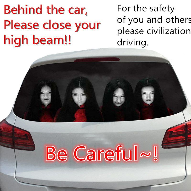 Window car body decal sticker female ghost zombie horror prevent 1 pcs high beam