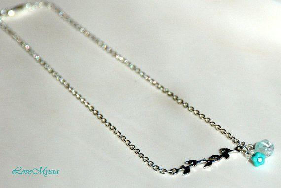 Flower on a branch necklace by LoveMyssa on Etsy