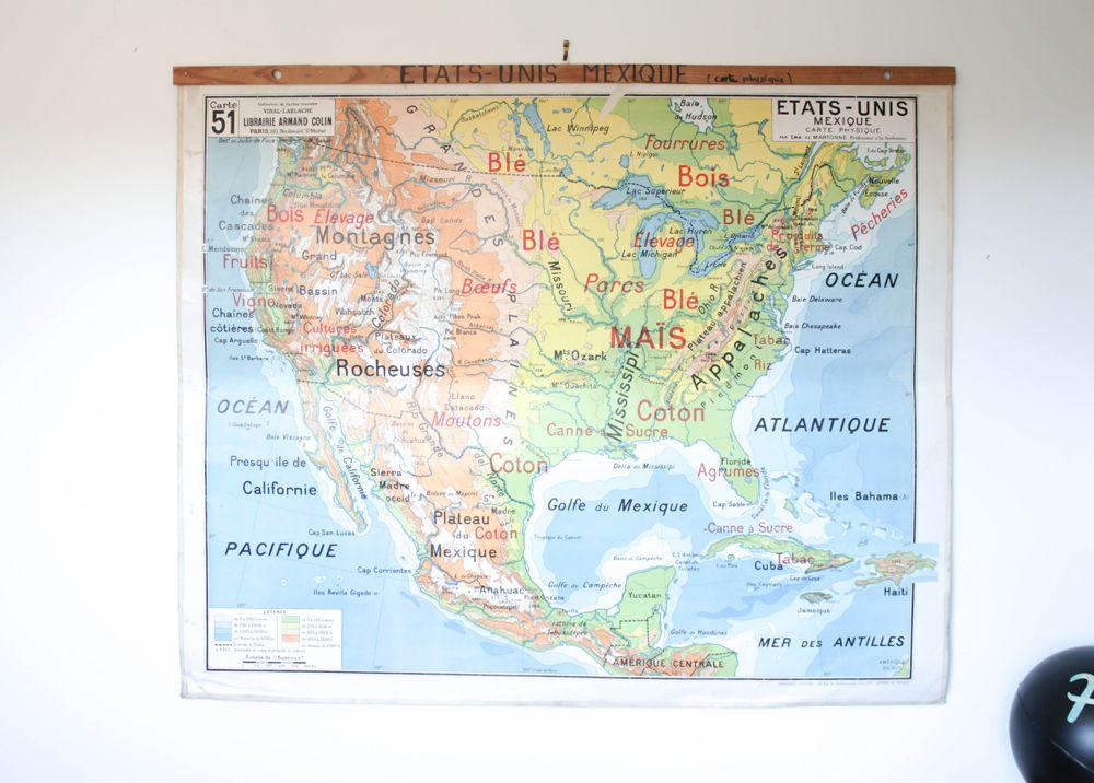 Très grande carte d'école États Unis Mexique. Une face géographie