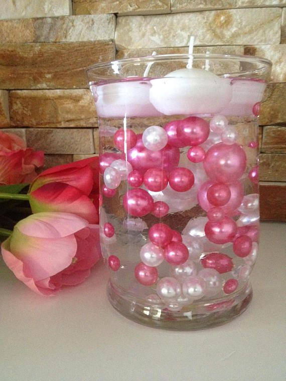 80pc Pinkwhite Floating Pearls Decors Jumbo Pearls Vase Fillers