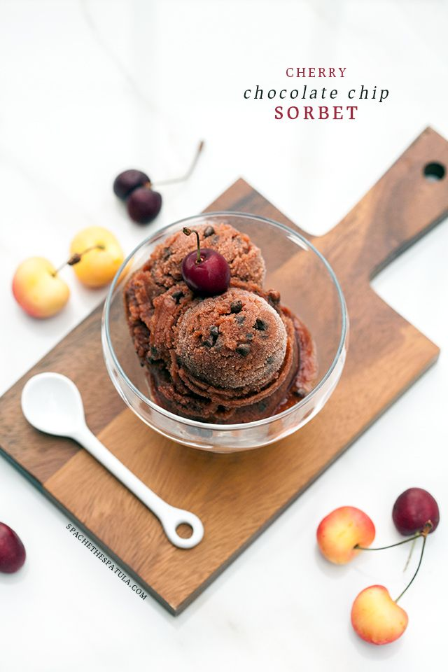 Cherry Chocolate Chip Sorbet | Spache the Spatula
