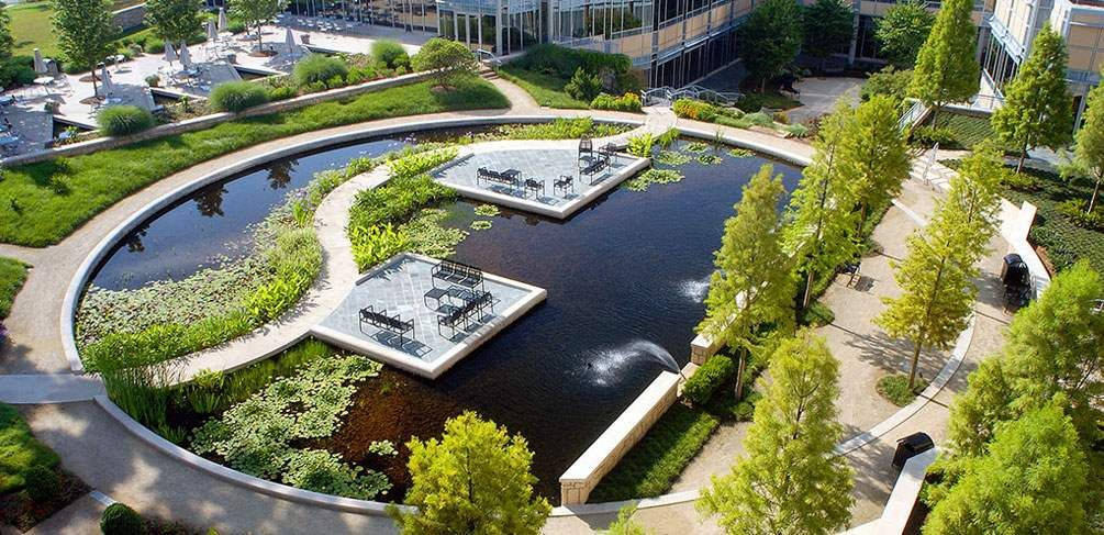 Hgor show us how to create a stunning office campus design for Award winning landscape architects