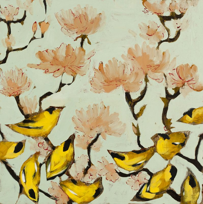Goldfinches & Blossoms 24 x 24