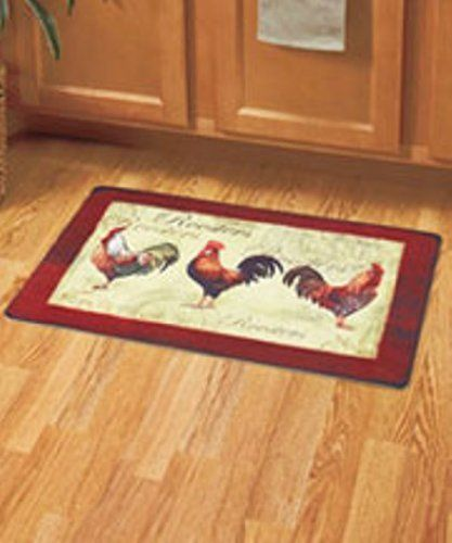 Amazon Com 26 Country Rooster Decor Cushion Floor Mat Kitchen Mats Dining
