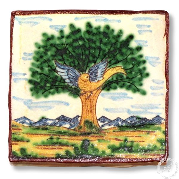 The tile is entirely handmade and hand painted in Caltagirone by Giacomo Alessi, one of the most relevant ceramic artists in Italy.  Gracefully hand painted with traditional Sicilian subjects, the tiles made by Giacomo Alessi have that particular, witty simplicity that is quintessentially Sicilian. For his Collection 1800 Alessi draws inspiration from the subjects of the pottery made in Caltagirone in the 19th century.