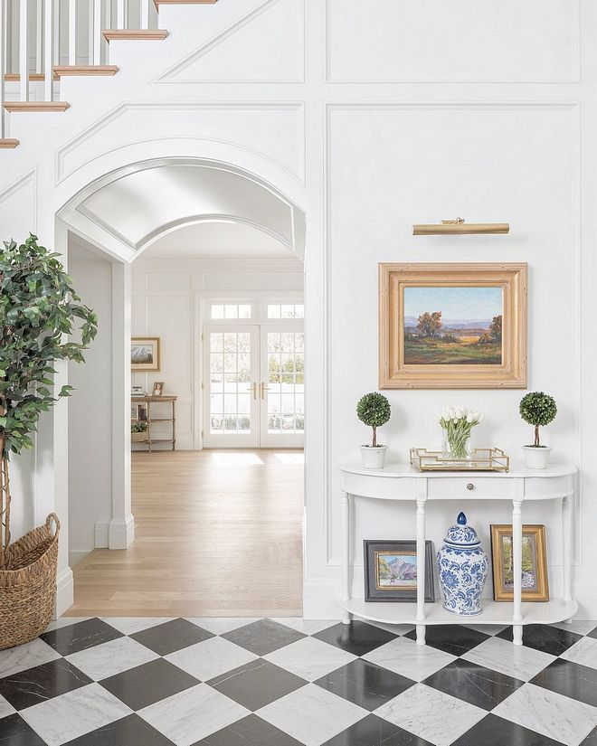 Simply White by Benjamin Moore Walls and wainscoting are