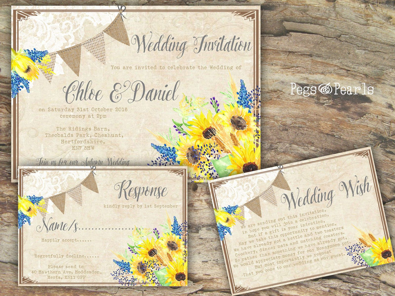 Personalised Rustic Bunting & Lace Sunflower Wedding