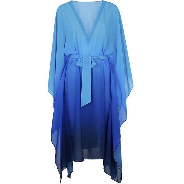 Gottex Harmony Kaftan (£235) ❤ liked on Polyvore featuring tops, tunics, swimwear, special occasion tops, drapey top, batwing sleeve tops, v-neck tunic and blue top