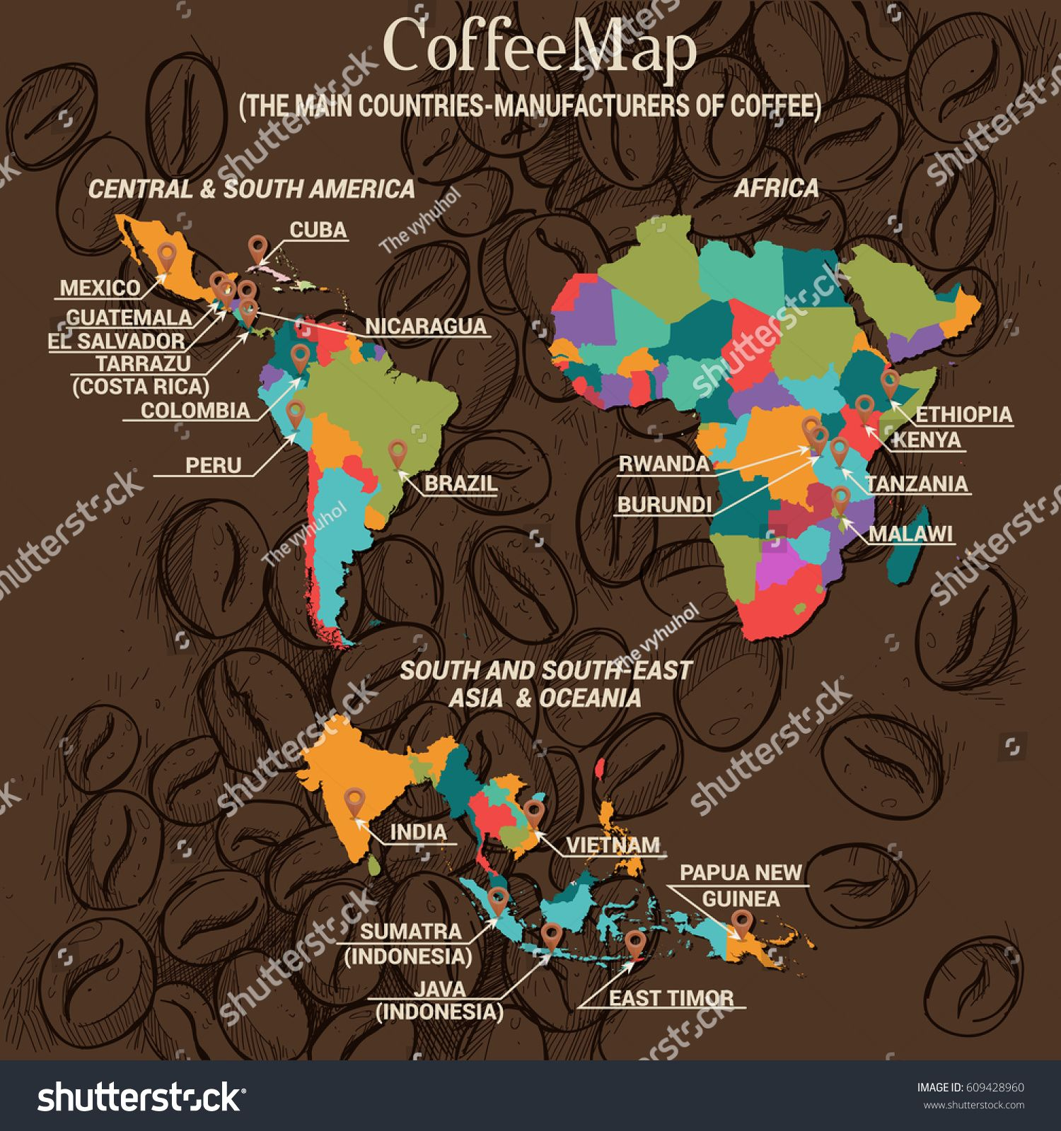Vector infographic concept: Coffee Map: The main countries