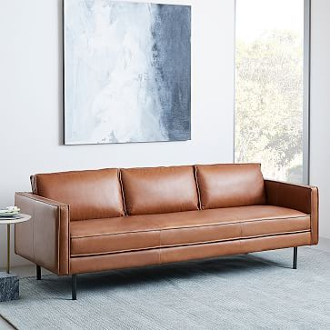 Axel 89 Sofa Aspen Leather Fog Sofas Living Rooms And Comfy