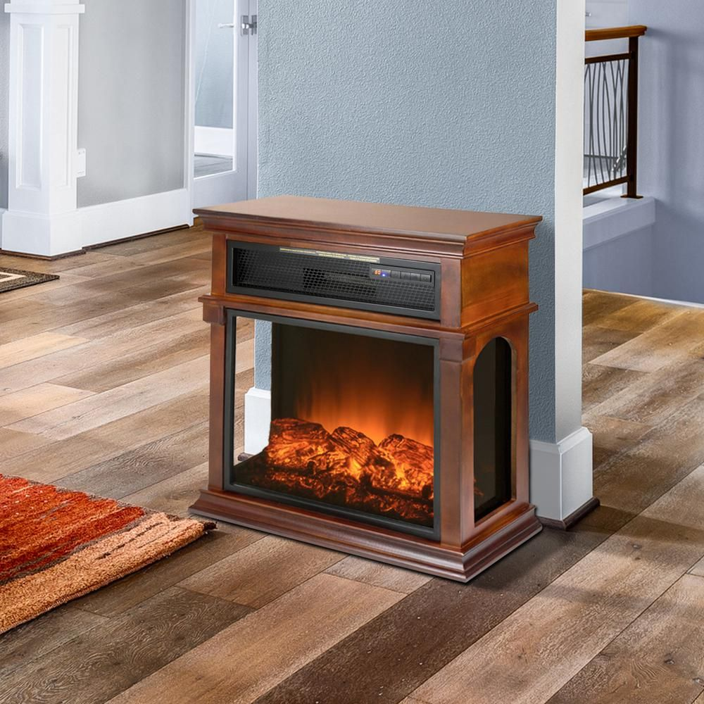 29 In Freestanding Electric Fireplace Mantel Heater In Wooden Brown With Tempered Glass Logs And Remote Electric Fireplace Fireplace Heater Fireplace Mantels