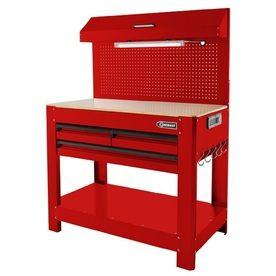 Shop Kobalt 45 In W X 36 In H 3 Drawer Wood Work Bench At Lowes Com Workbench Tool Storage Steel Workbench