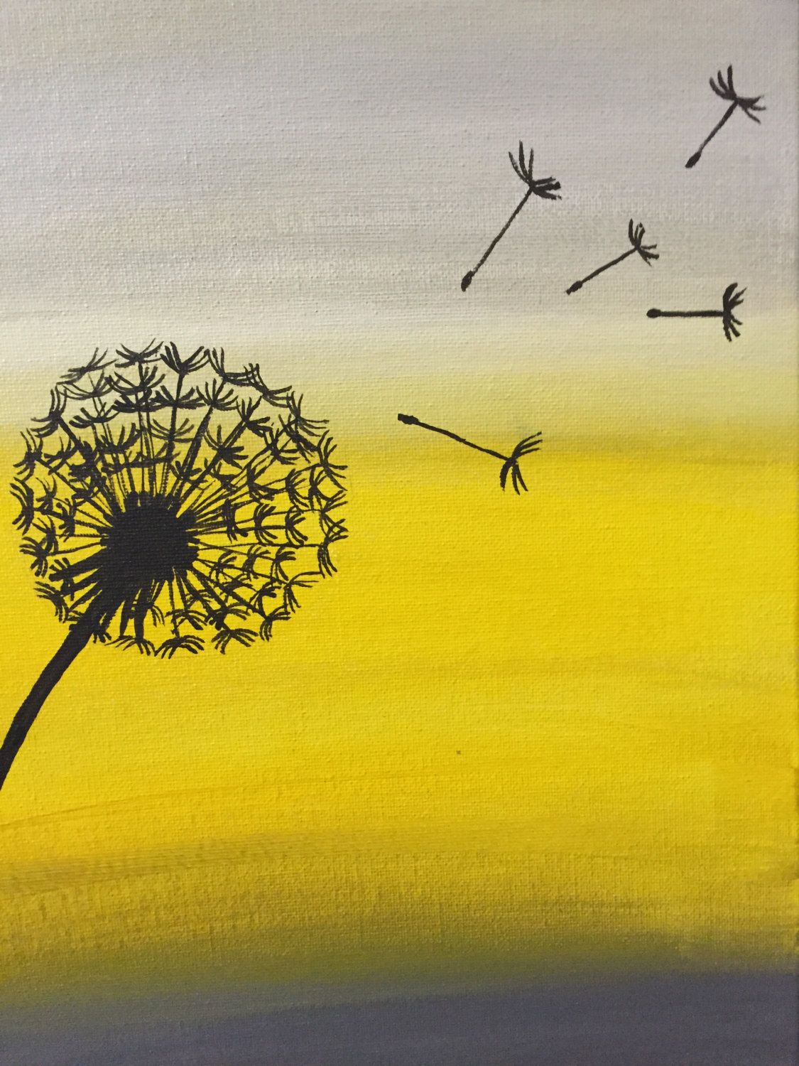 Dandelion Wishes - Acrylic original painting - yellow and grey 11x14 ...