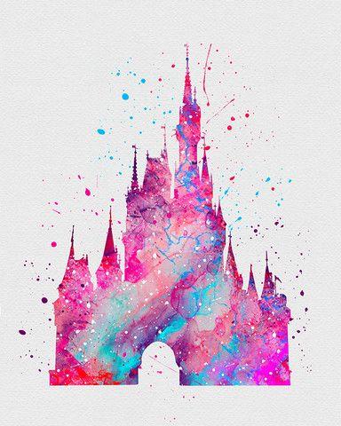 Photo of Cinderella Castle 2 Aquarell Kunstdruck