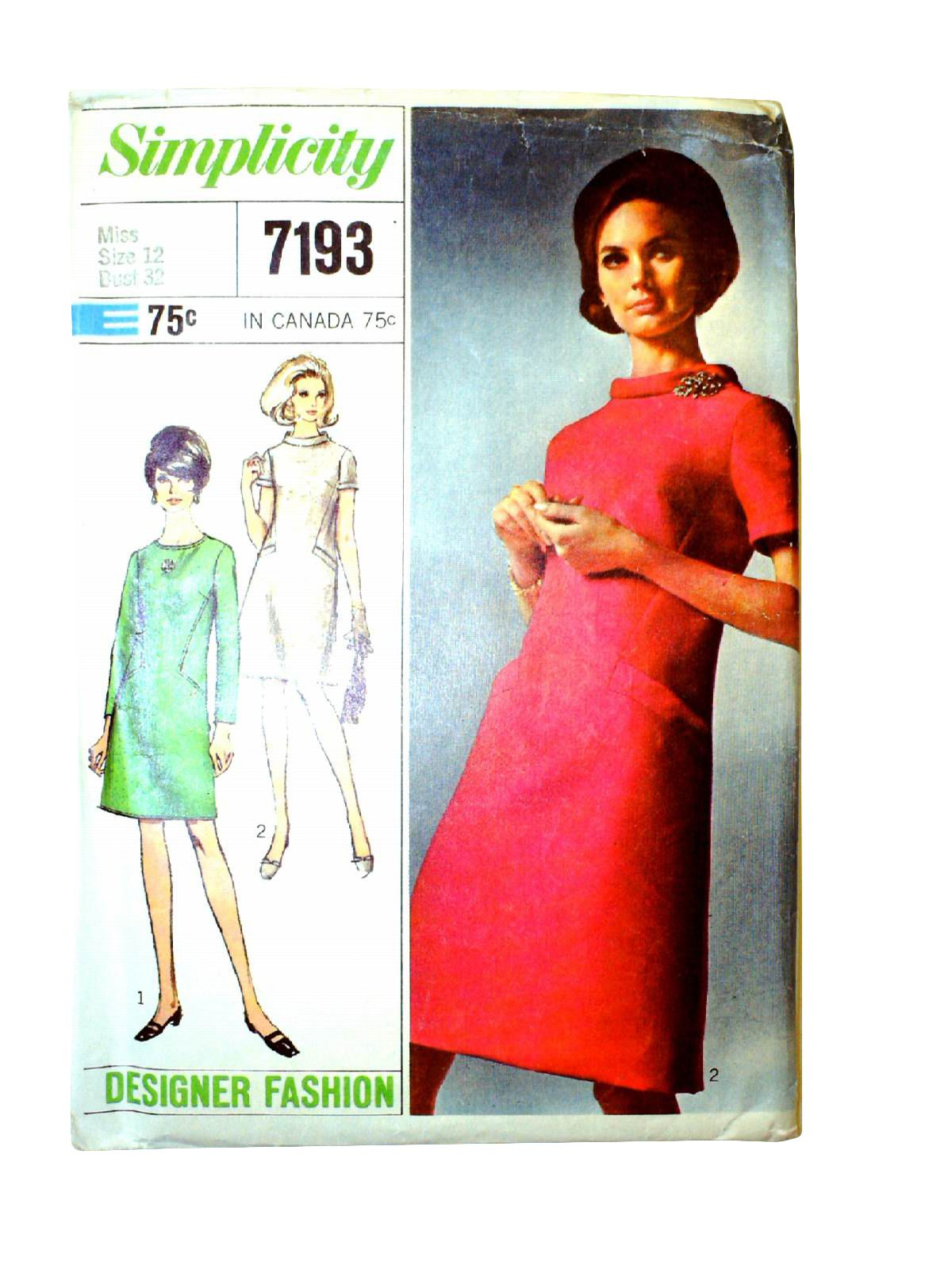 1967 simplicity designer pattern no 7193 womens sewing pattern 1967 simplicity designer pattern no 7193 womens sewing pattern for misses dress jeuxipadfo Images