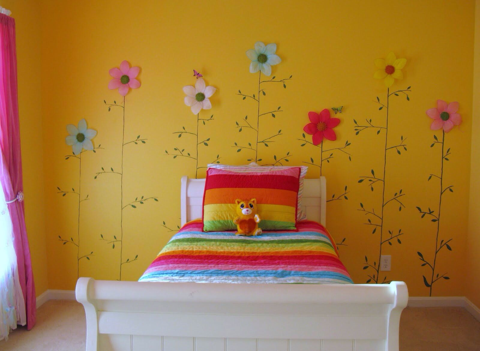 Lovely Girls Bedroom For Modern Your Room With Yellow Wall Paint And Rainbow  Bed Also Flower Walpaper In Wall Yellow Wall Nice Girls Kid Bedroom With  Pink ...