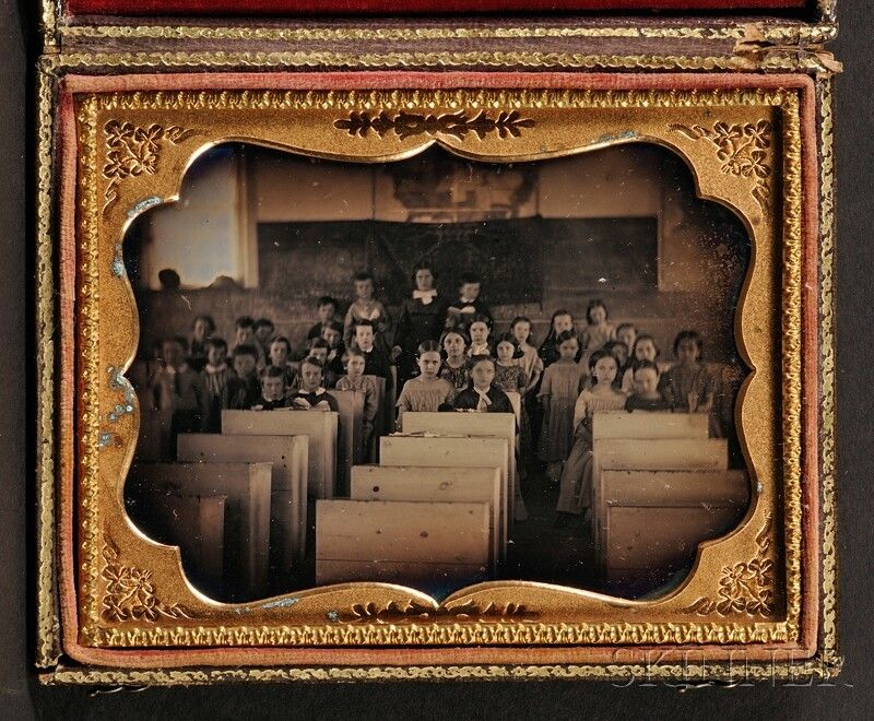 Quarter Plate Daguerreotype Picture of Students in a Classroom