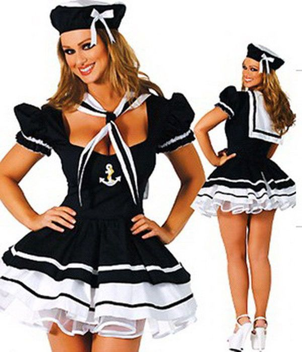 Plus Size Role Play Black Navy Uniform Sailor Suit Halloween ...