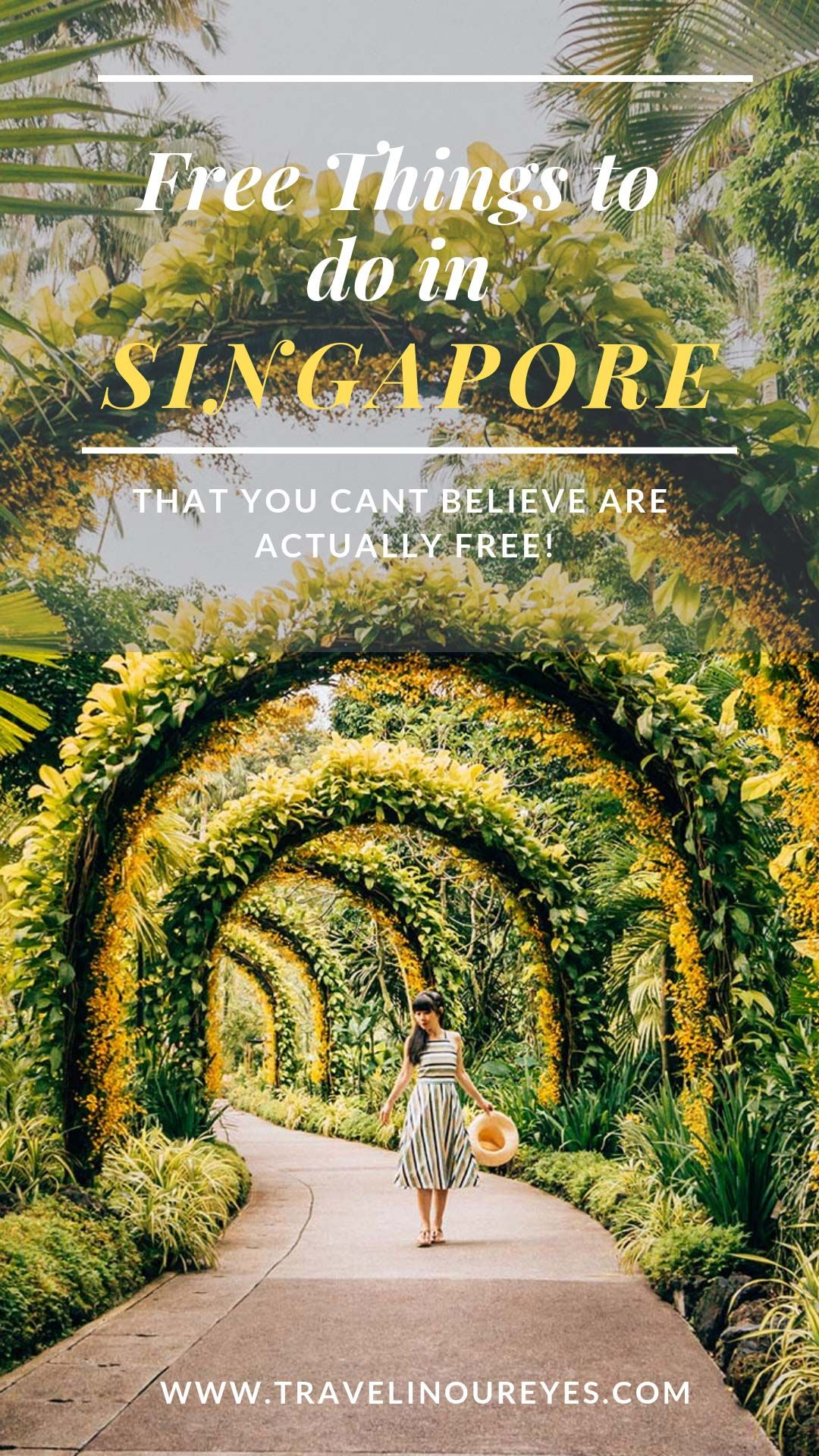 Free things to do in Singapore that you won't believe are actually free! Great for when you're visiting one of the most expensive cities in Southeast Asia. www.travelinoureyes.com #singapore #singaporetravel #travelguide