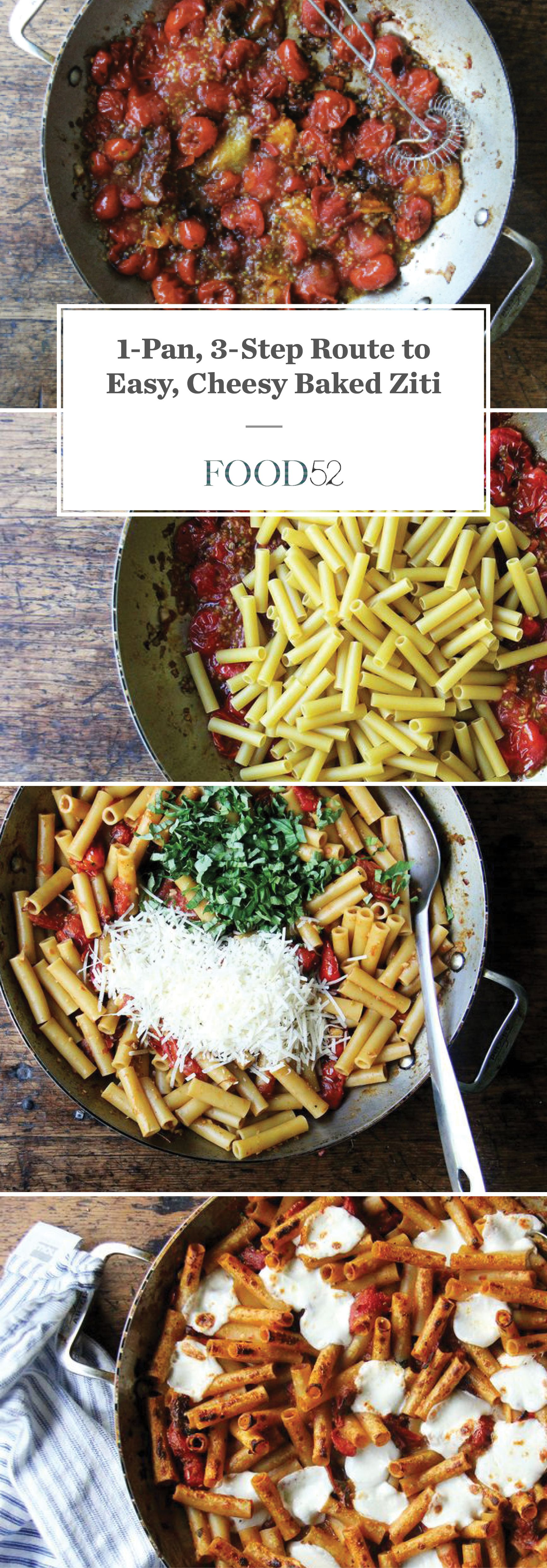 The 1 Pan 3 Step Route To Baked Ziti Baked Ziti Perfect Pasta Easy Baked Ziti