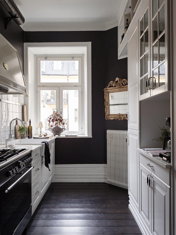 Estudio de 35 m con paredes negras kitchen paredes negras cocinas y futura casa - Estudio de interiores ...