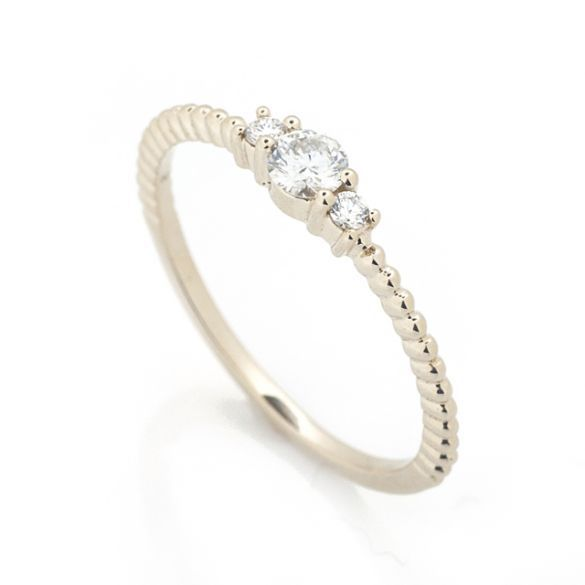 Petite Three Stone Diamond Stacking Ring Petite Three Stone Diamond Stacking Ring