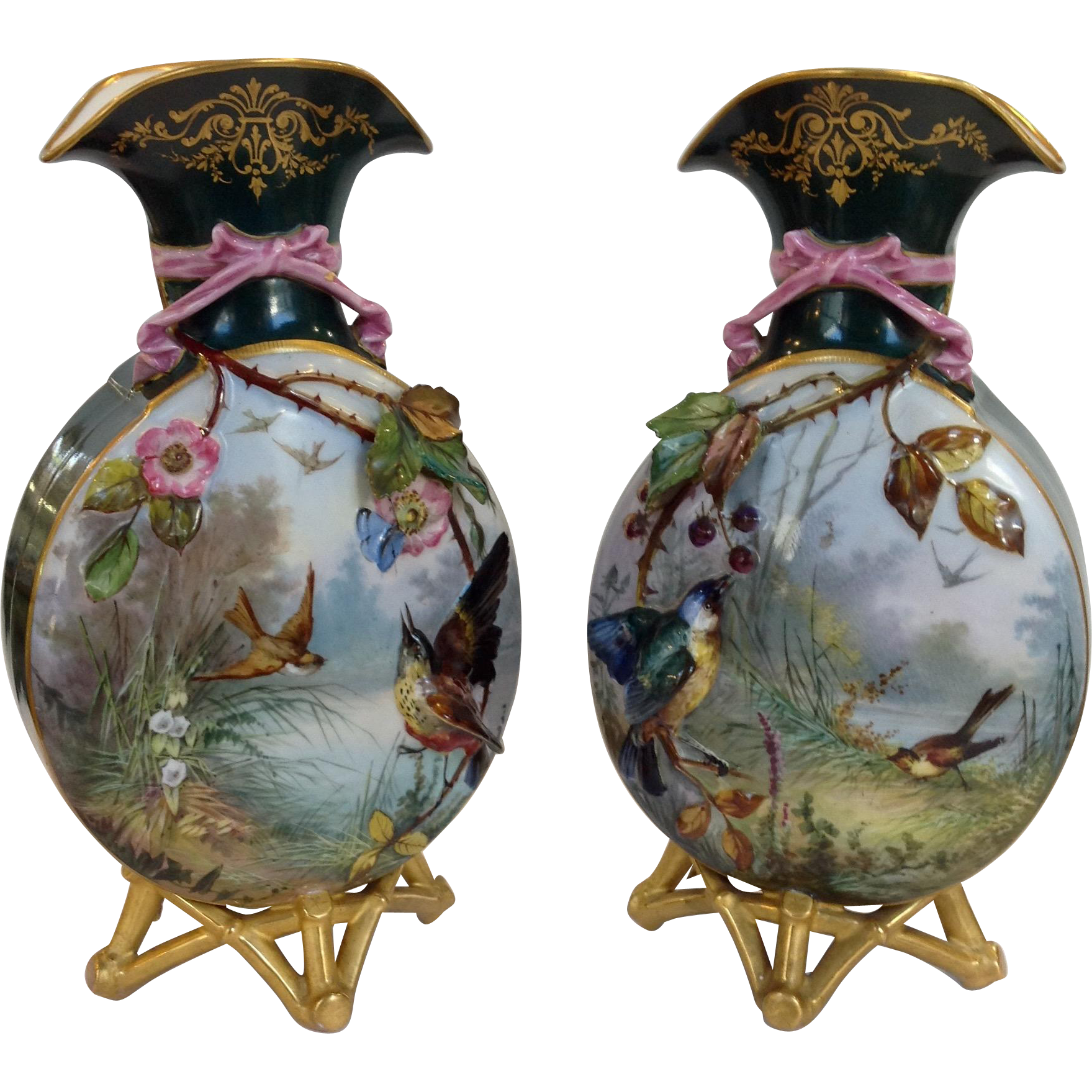Pair of french limoges hand painted bird vases antique 12 bird pair of french limoges hand painted bird vases antique 12 reviewsmspy