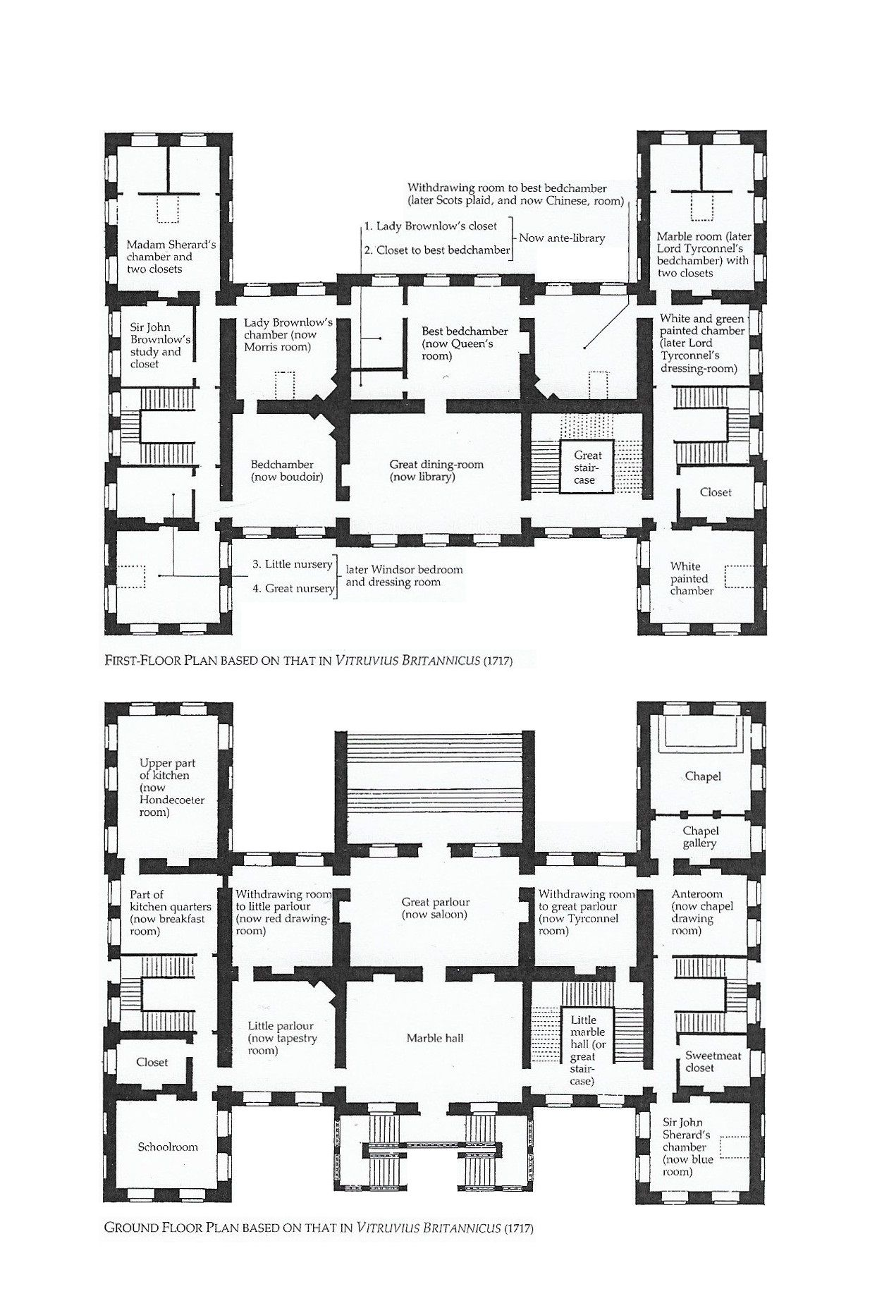 Belton House Ground And First Floor Plans Belton House Vintage House Plans Architectural Floor Plans