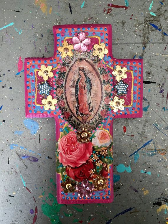 Rustic Our Lady Of Guadalupe Image On Wooden Cross Rose Pink Vintage Virgin Mary Mexican Wall Art Wedding Gift
