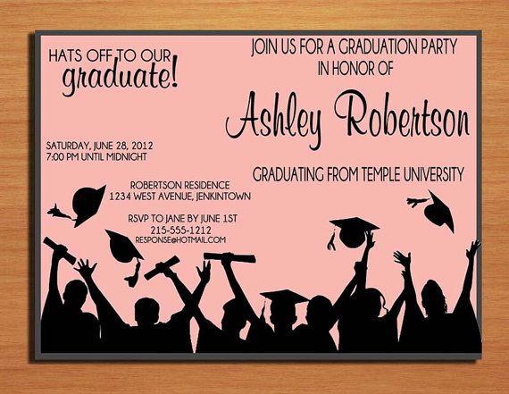 Hat Toss Graduation Party Invitation Cards PRINTABLE DIY – Invitation Card for Graduation Party