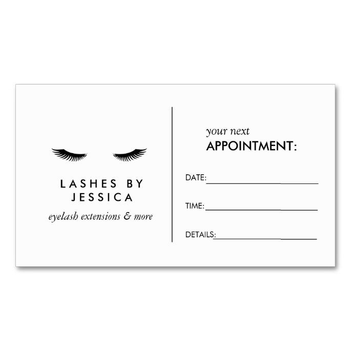 Glam Eyelashes Black And White Appointment Card School Address - Appointment business card template