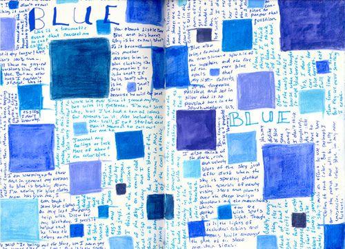 Blue art journal spread.