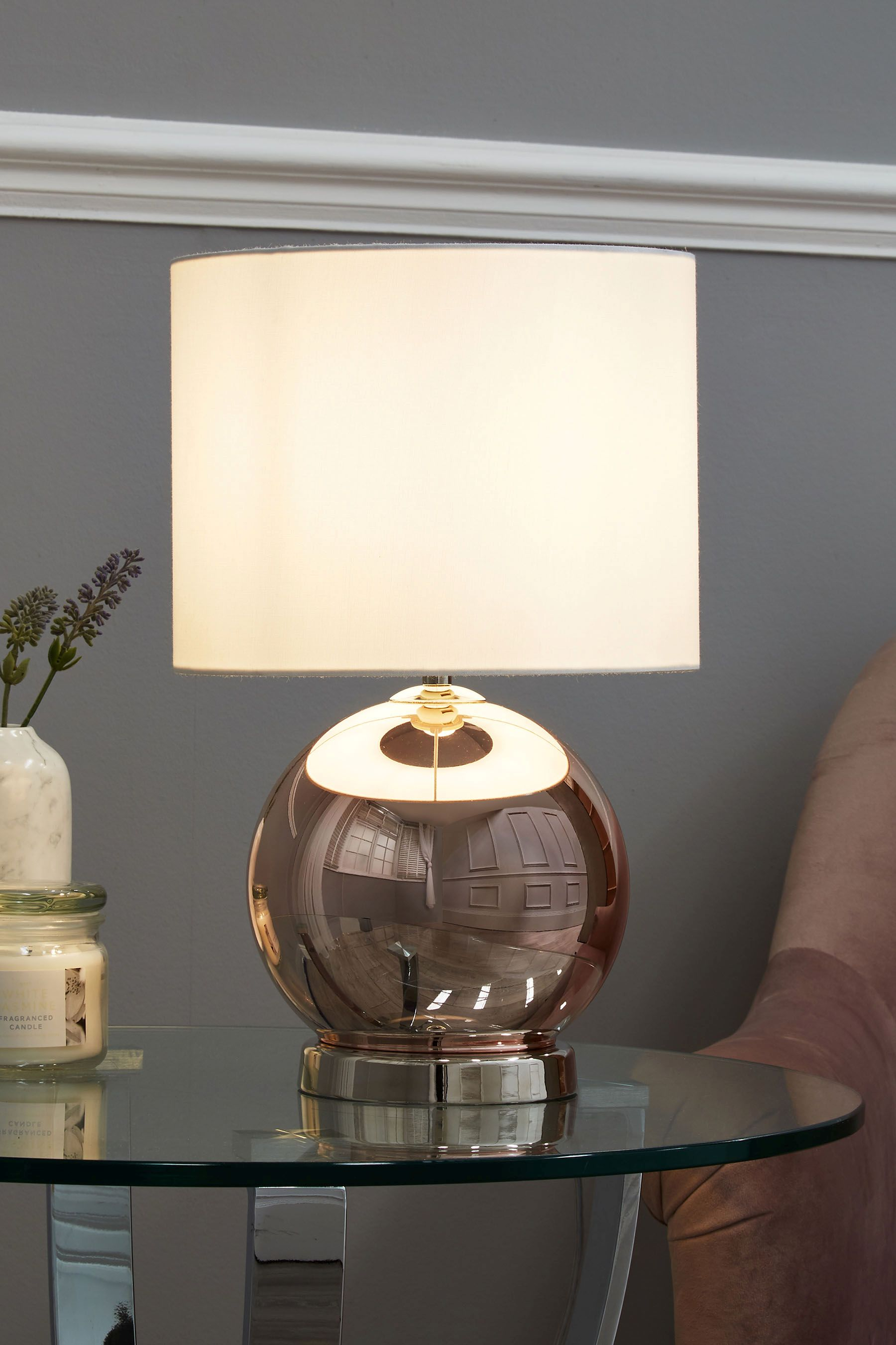 Next roseville touch table lamp copper