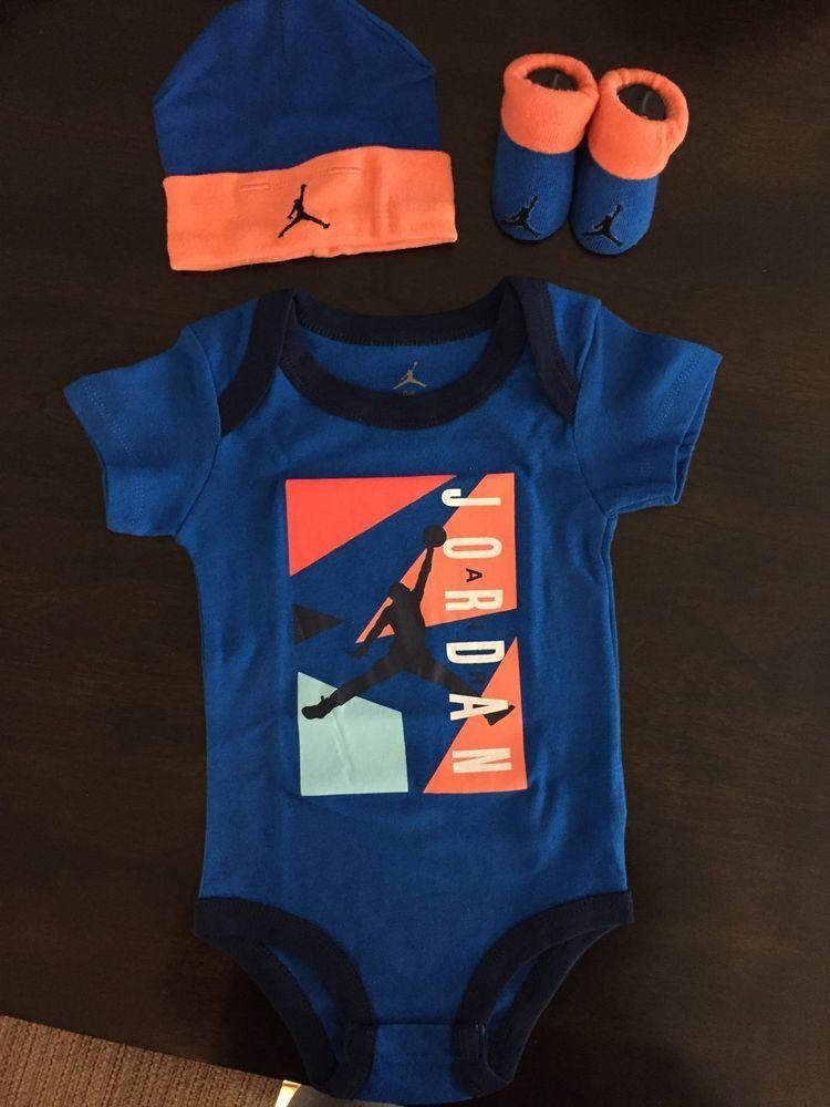 17799a3da87 new  nike air jordan  baby  boy 3 piece set  bodysuit cap booties size 0-6  m from  22.99