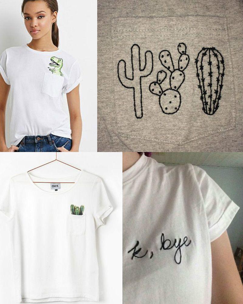 DIY | CAMISETA BORDADA - ESTILO TUMBLR (Embroidered Tee Shirt ...