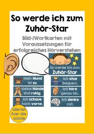 So werde ich zum Zuhörstar – Bild- und Wortkarten mit den Voraussetzungen für erfolgreiches Hörverstehen – Unterrichtsmaterial in den Fächern DaZ/DaF & Deutsch