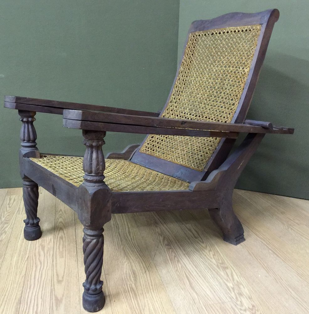 Antique wicker lounge chair - Rare Plantation Lounge Chair Antique Leather Cane Adjustable Recliner Morris Us 750 00